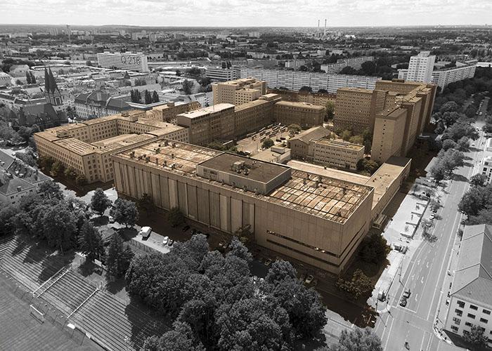 Ein Luftbild von der ehemaligen Stasi-Zentrale in Berlin-Lichtenberg